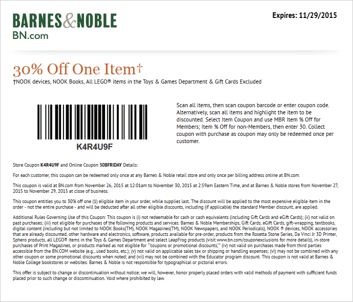 barnes and noble online coupon codes