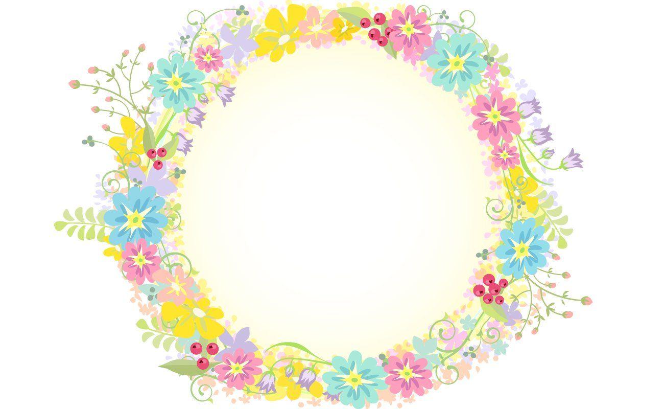 ヨーロピアン風の花飾り_囲みフレーム背景イラスト | ラプンツェル