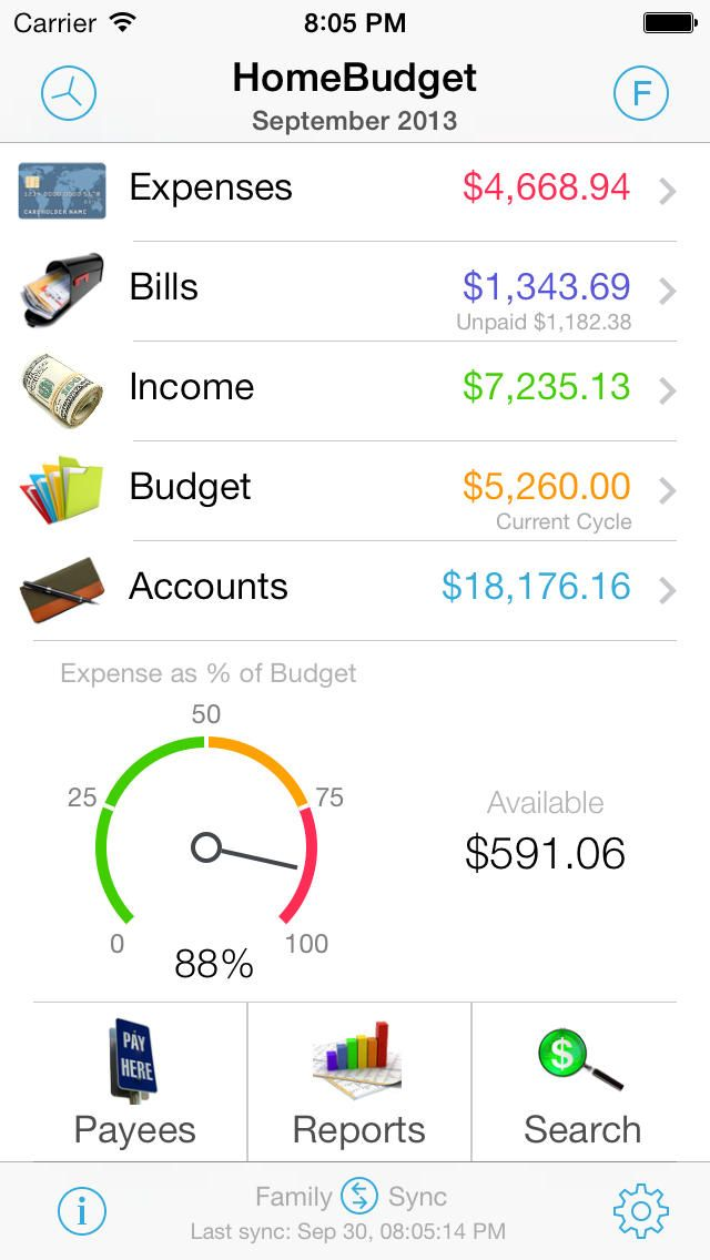 HomeBudget with Sync Personal finance app, Finance app