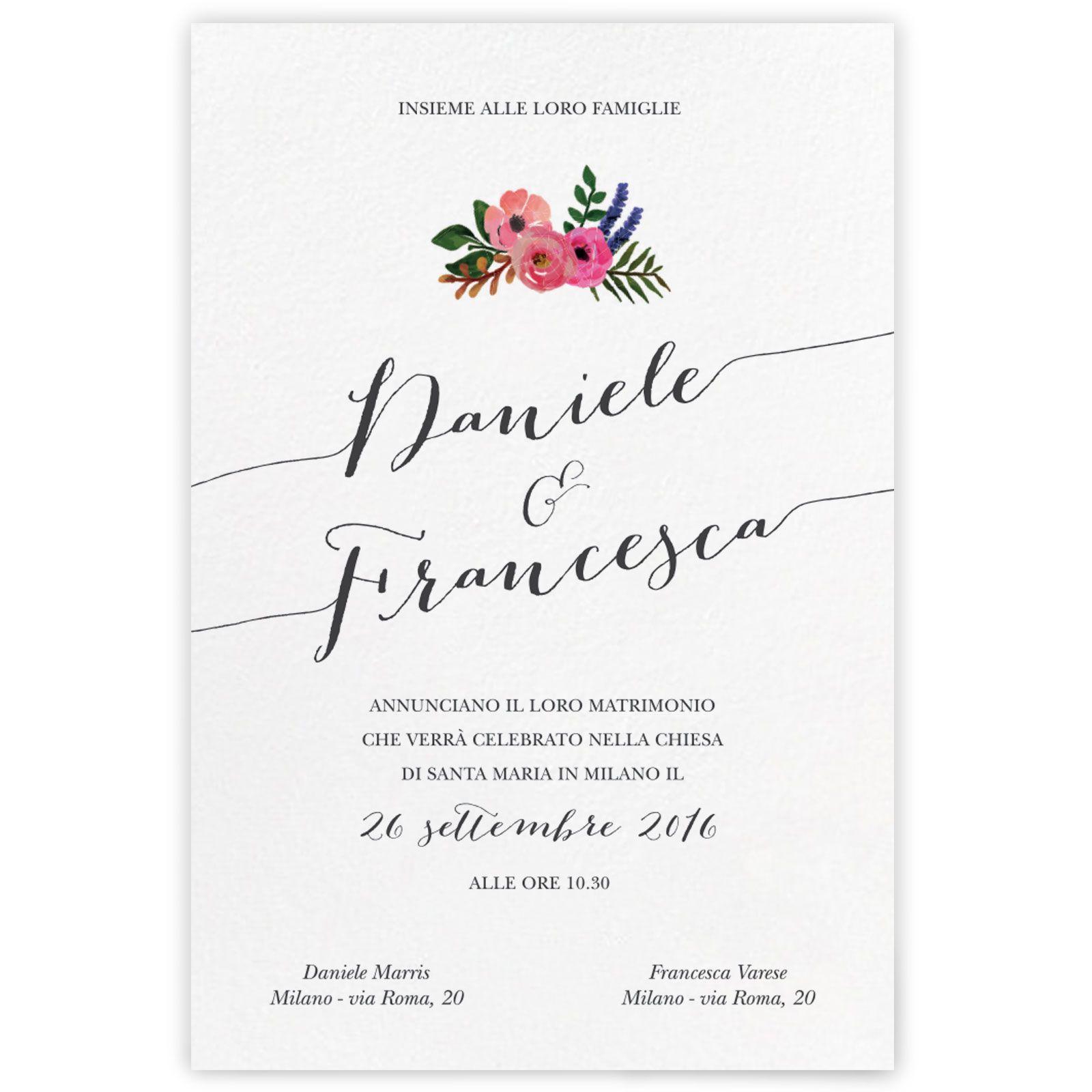 Partecipazione Di Matrimonio In Stile Rustico Arricchita Da Un Delicato Decoro Floreale Con Nuance Pastell Partecipazione Di Matrimonio Matrimonio Ricevimenti