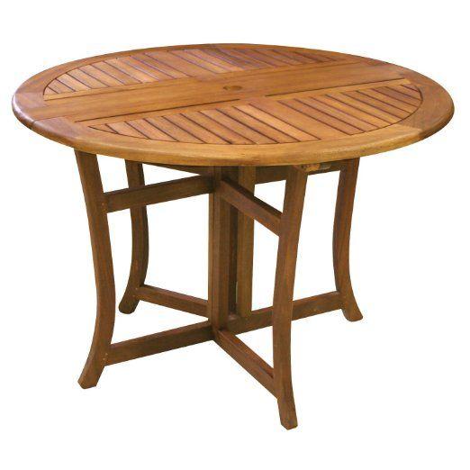 Amazon Com Eucalyptus 43 Inch Round Folding Deck Table Patio Lawn Garden Outdoor Dining Table Round Folding Table Patio Dining Table