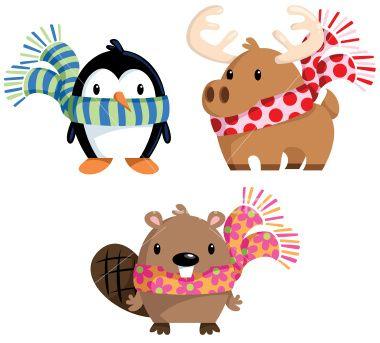 Winter Animals In Scarves Winter Animals Animal Clipart Animals
