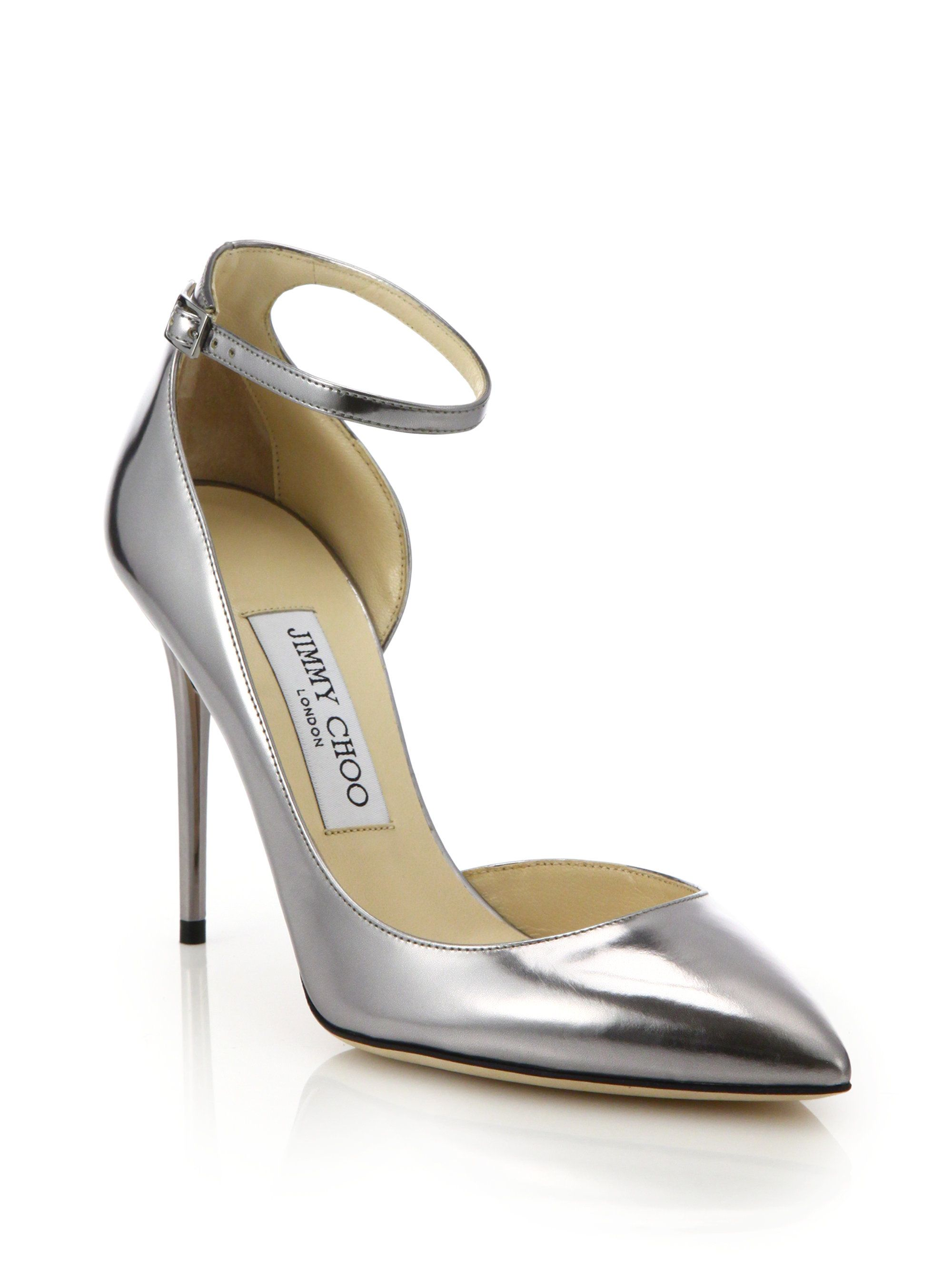 2d5fe8153 Jimmy Choo | Silver Lucy 100 Metallic Leather Ankle-strap Pumps | Lyst