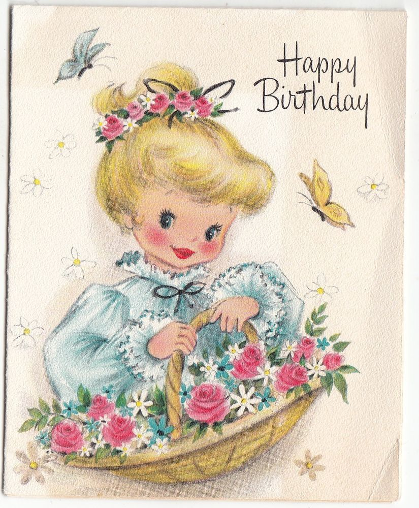 Vintage Little Girl with Basket of Flowers Birthday Greeting Card