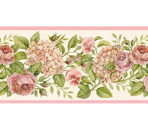 Pink Rose Garden Hydrangea Wallpaper Border By Chesapeake, Clearance  Wallpaper Borders - Interior Design - Pink Rose Garden Hydrangea Wallpaper Border By Chesapeake Dream