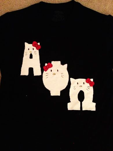 o kitty! | DIY Letter Shirt - Ideas and How-To | Pinterest ... on homemade letter art, homemade letter costumes, german letter shirts, cute letter shirts, vintage letter shirts, kappa delta letter shirts, cheap letter shirts, homemade letter banners, school letter shirts,
