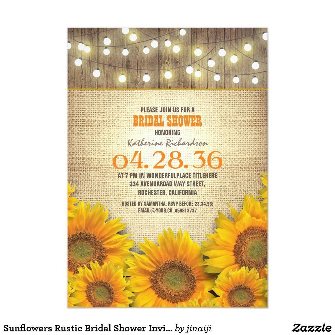 Sunflowers Rustic Bridal Shower Invitations | Rustic bridal showers ...