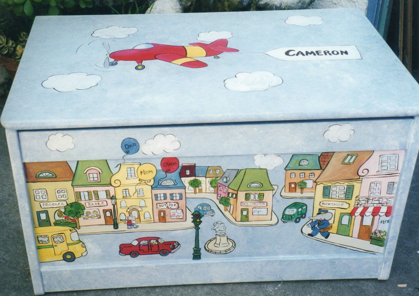 Town Toy Box Storage Boys Hand Painted Toy Box Children S Toy Box By Painted Toy Boxes Boys Toy Box Childrens Toy Boxes
