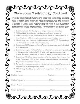Classroom Technology Contract Keep Students Accountable Your Technology Safe Student Technology Classroom Technology School Technology