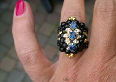 """""""Biker Chick"""" beaded ring video tutorial by Beading 4 Perfectionists"""