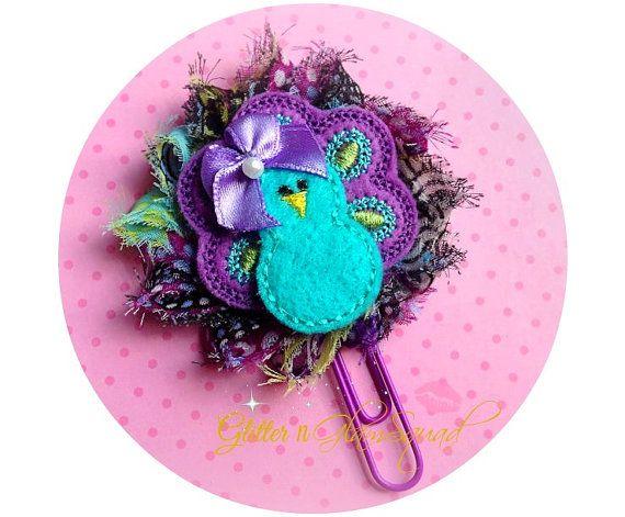 Pretty Peacock Planner Clip Felt / Flower by GlitterNGlamSquad