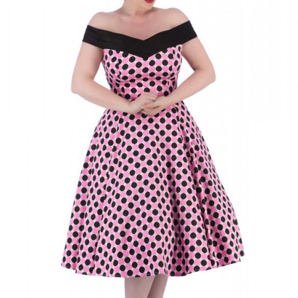 H&R London Lange 50's retro off shoulder jurk met polkadots zwart/roze