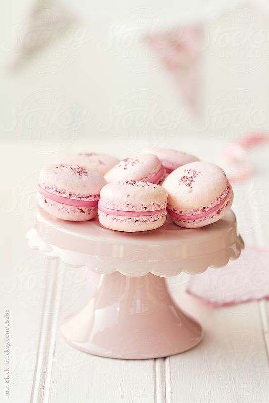 Strawberry macarons on a cakestand by Ruth Black