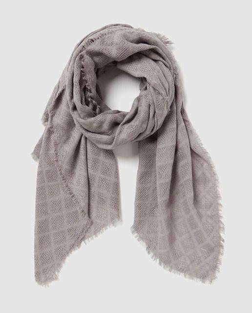 Fular de algodón tejido gris
