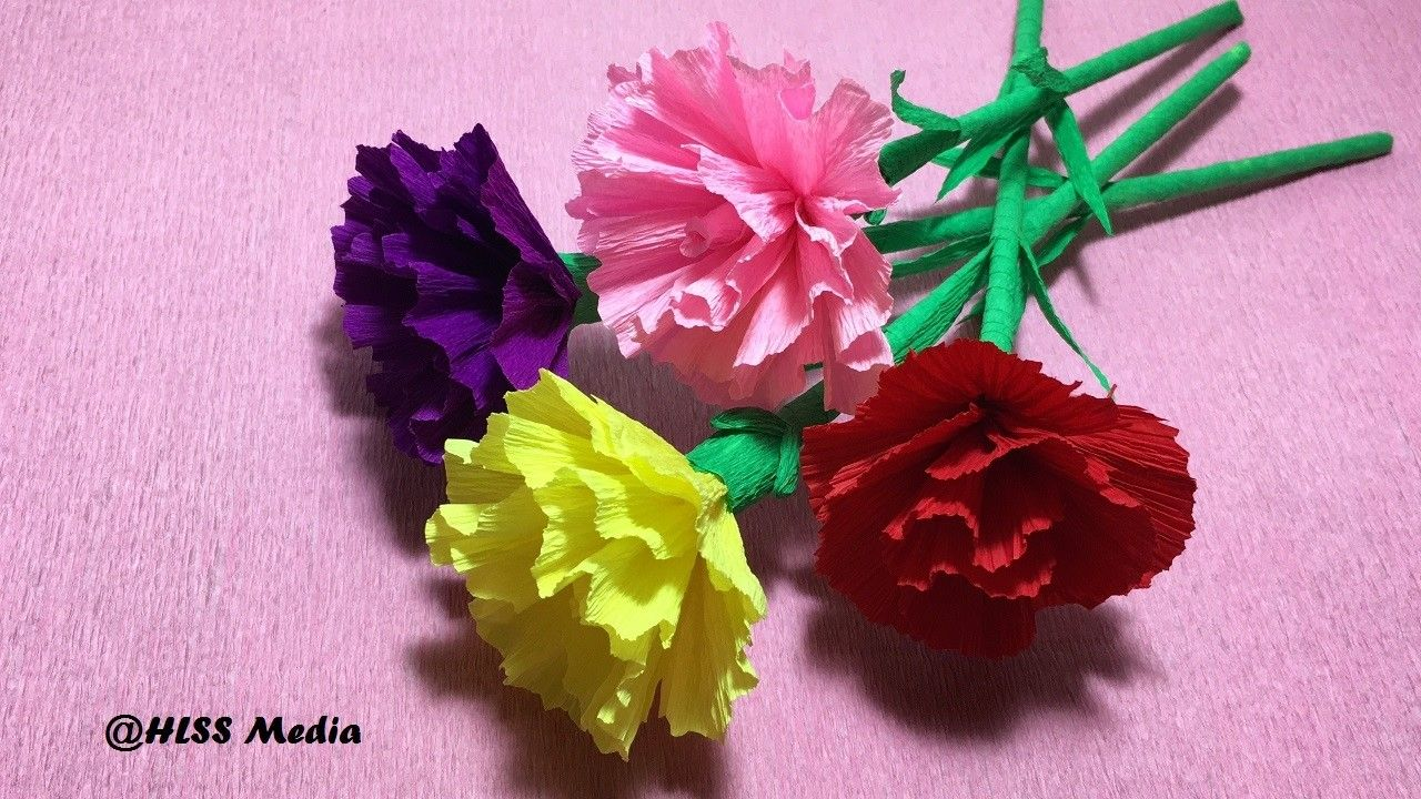 How To Make Diy Carnation Flower With Crepe Paper Easy Fast Carnation Flower Paper Craft Tutorial Paper Flowers Paper Craft Tutorials Carnation Flower
