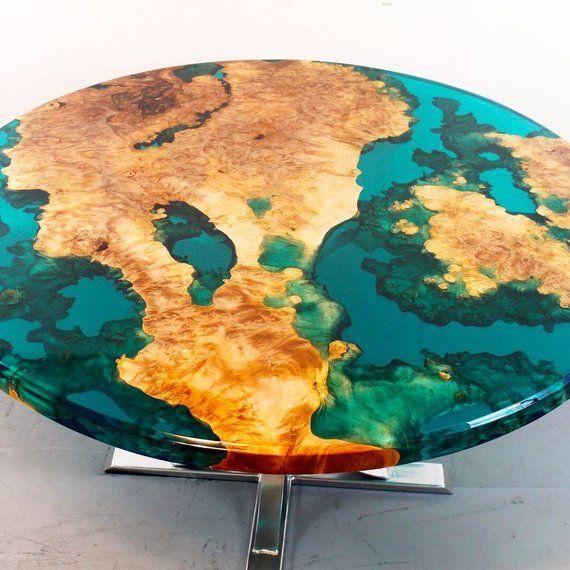 Round resin river table #resinpatiofurniture