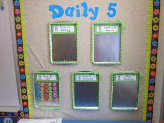 Pinterest inspired classroom decor - the Daily 5 is magnetic! Plus tons of other cute ideas.
