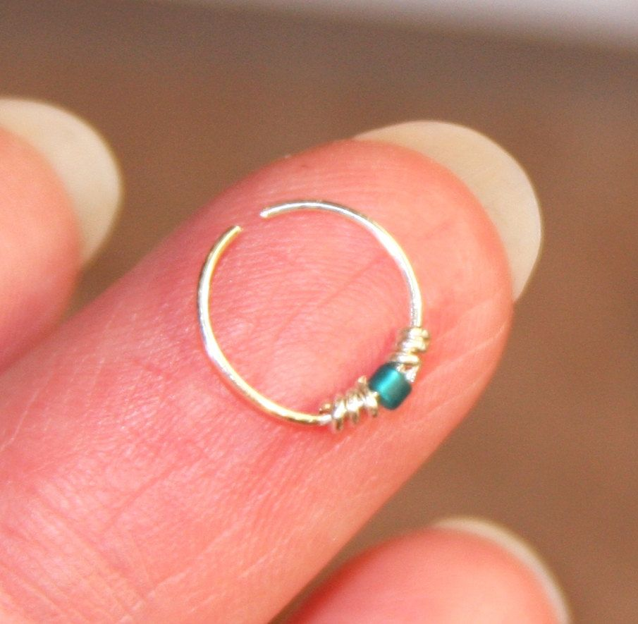 Extremely Thin Small Nose Ring, Teal Beaded Nose Ring, Nose Hoop, Hoop  Earring, Cartilage Hoop, Endless Hoop Seamless Hoop Piercing Jewelry