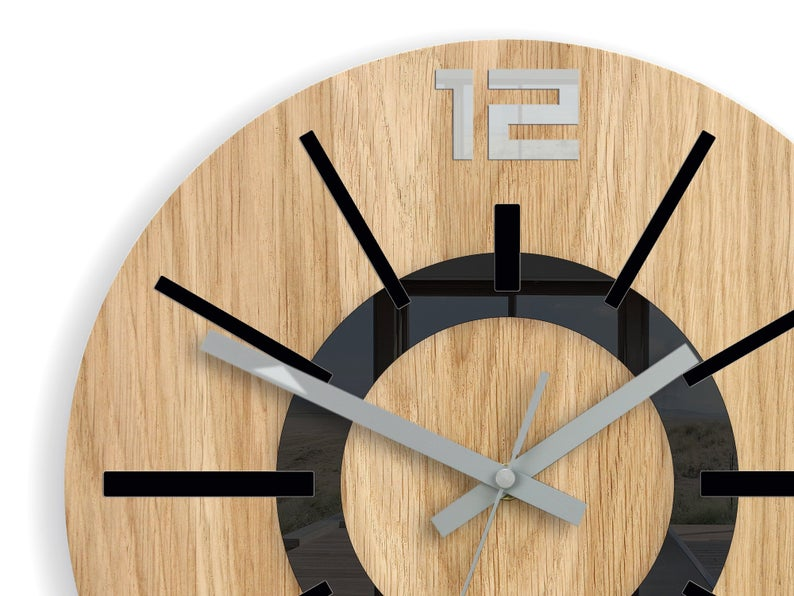 Large Wall Clock Oak 13 In Black Clock Nordic Wood Clock Geometric Wall Art Modernclock Unique Wall Clock In 2020 Wall Clock Oak Large Wall Clock Wood Clocks