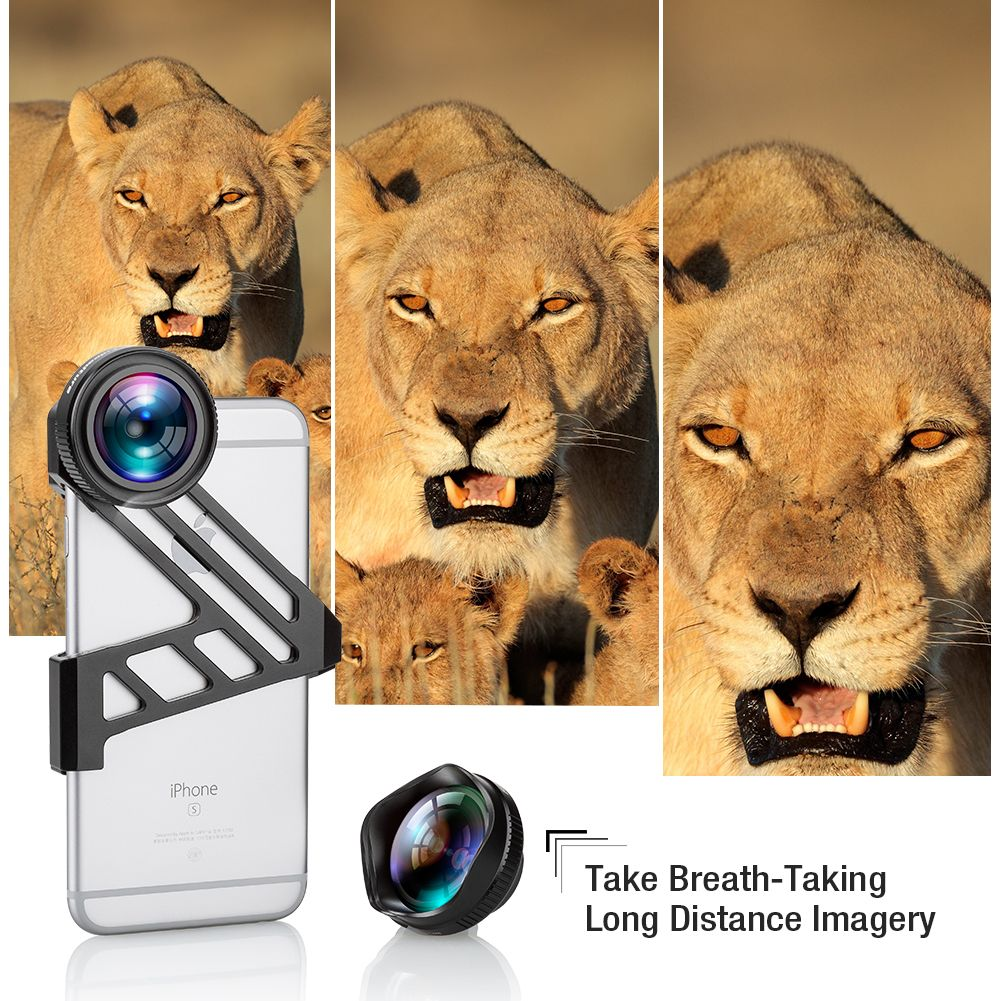 175 Degree Wide Angle Lens + 3X HD Telephoto ClipOn Cell