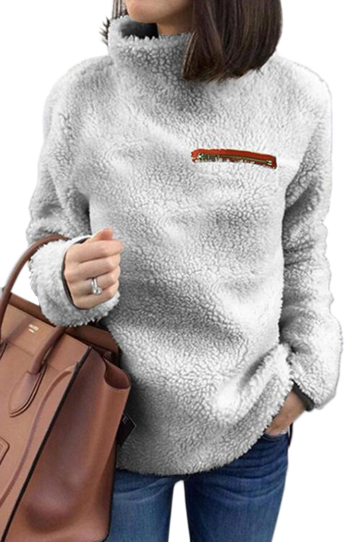 Womens Sherpa Pullover Plus Size Tops Fuzzy Sweater V Neck Light Sherpa Fleece Fluffy Long Sleeve Sweatshirts