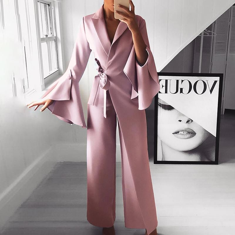 25d174df2abc Fashion Pure Colour Bell Sleeve Jumpsuits in 2019