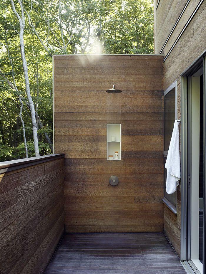 Modern wooden outdoor shower Outdoor shower, Outdoor