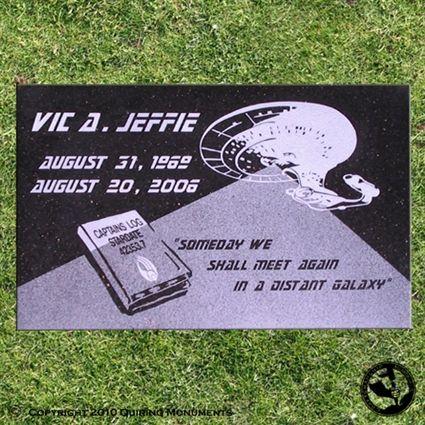 A unique memorial for a Star Trek fan. Beam me up Scottie ...