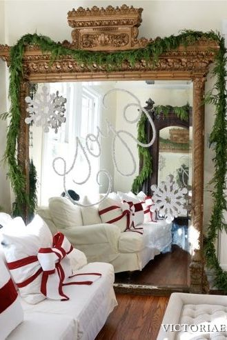 Decorating our Victorian home for Christmas… I used glitter to write on the giant gilded mirror I scored on Craigslist!!