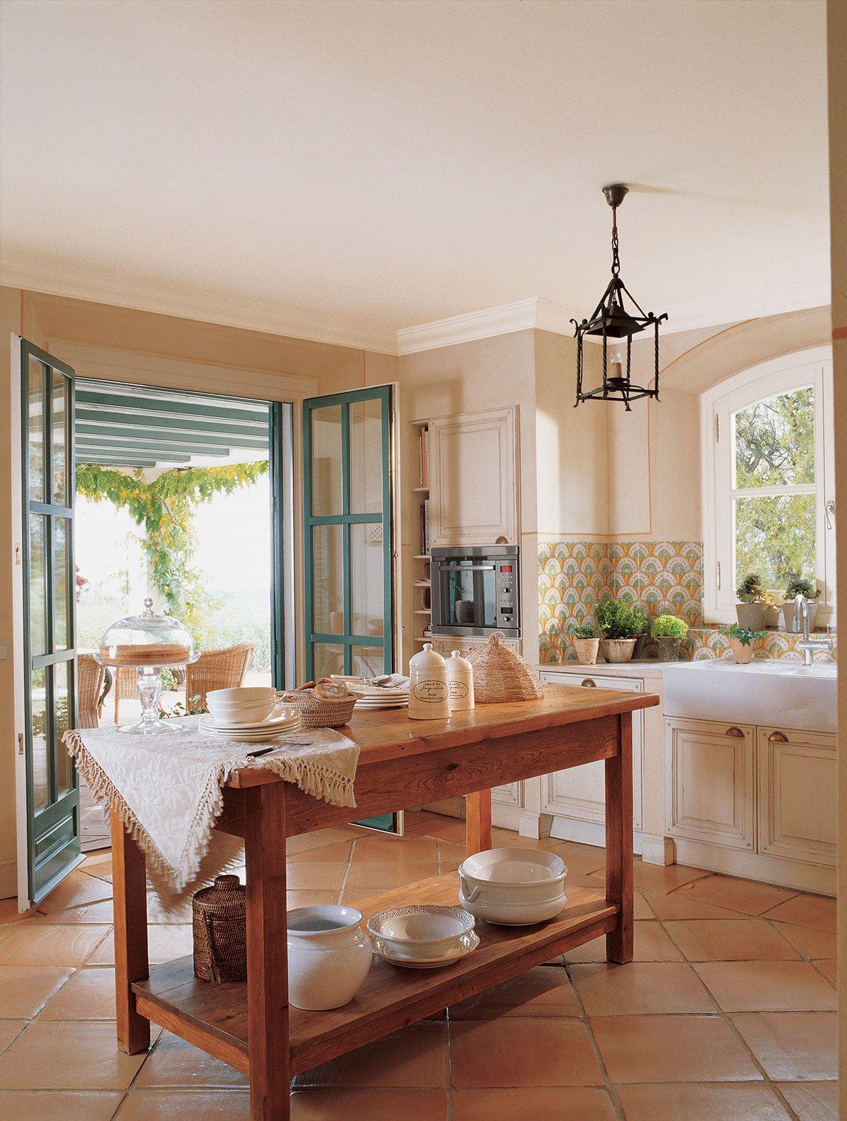 00157661 Cocina Con Muebles En Blanco Con Encimera De M Rmol  # Muebles Campo Gibraltar