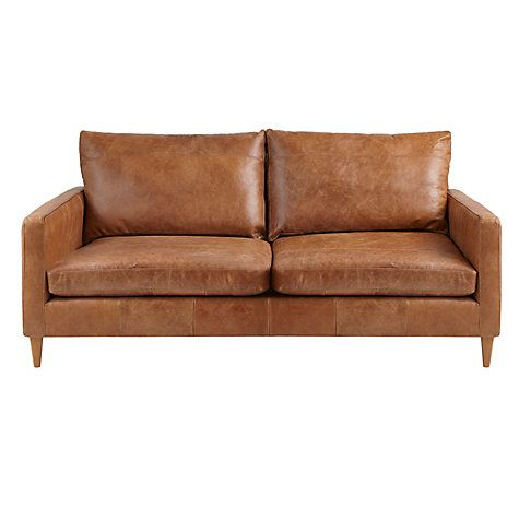 1700 John Lewis Bailey Medium Semi Aniline Leather Sofa Re Cuccino Online At