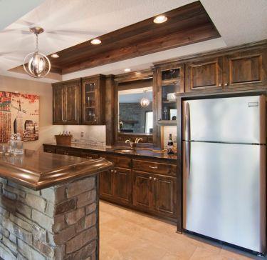 Custom stone & distinctive wood ceiling - Creek Hill Custom Homes MN ...