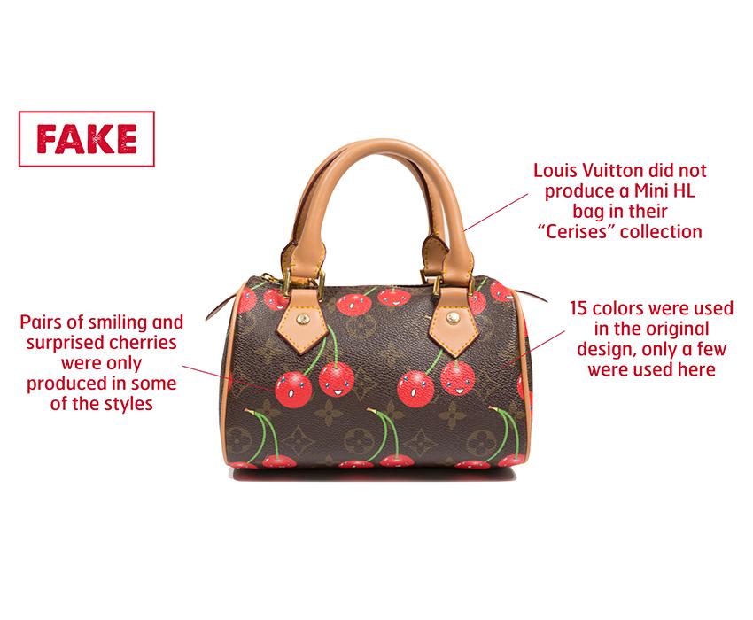 301781ee2bff Counterfeit Louis Vuitton (Takashi Murakami) Cerises Mini HL bag. Coated  canvas