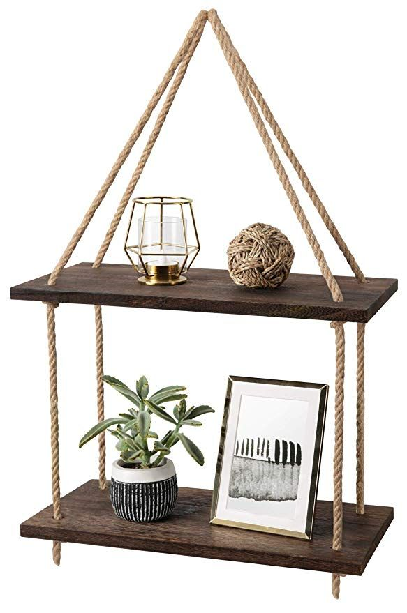 Mkono Wood Hanging Shelf Wall Swing Storage Shelves Jute Rope