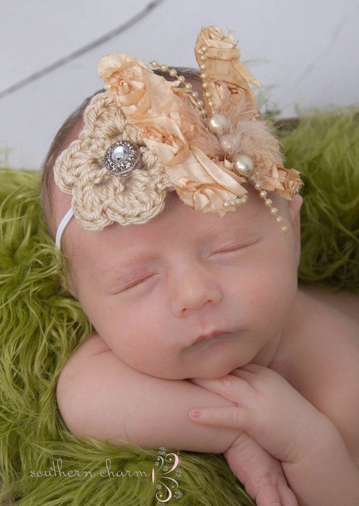 Baby girl headband baby crochet headband newborn headband newborn prop love the hair piece