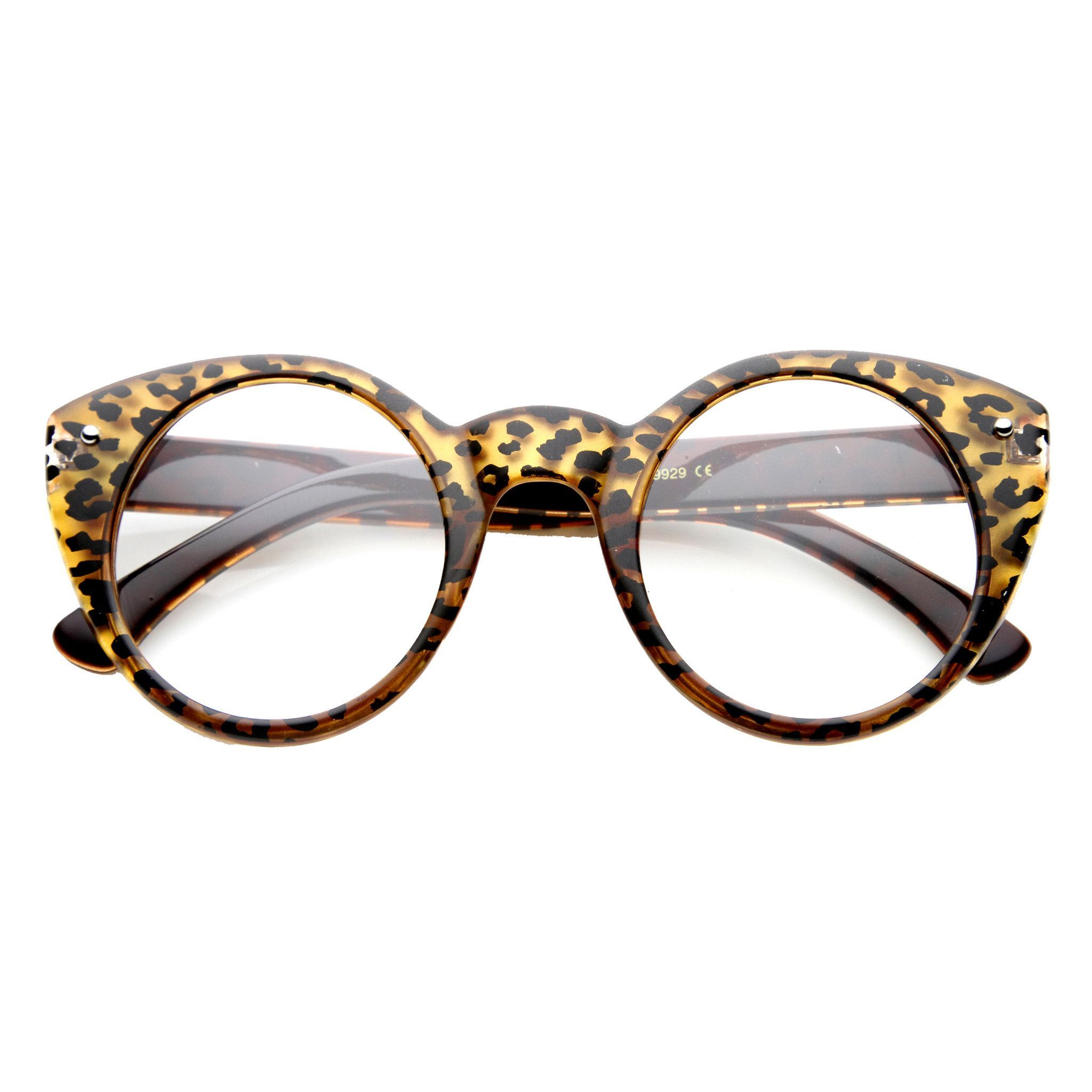- Description - Measurements - Shipping - A distinct bold version of 50s-inspired cat eye glasses with high pointed corners features stylish and colorful animal print patterns. You'll find they can wo