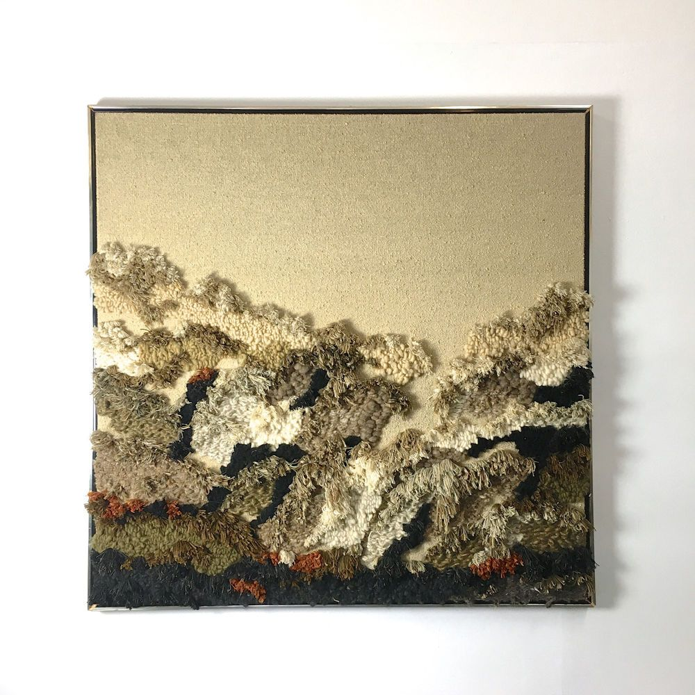 62x62 Vintage Robert Kidd Fiber Art Woven Wall Hanging Framed Mid ...