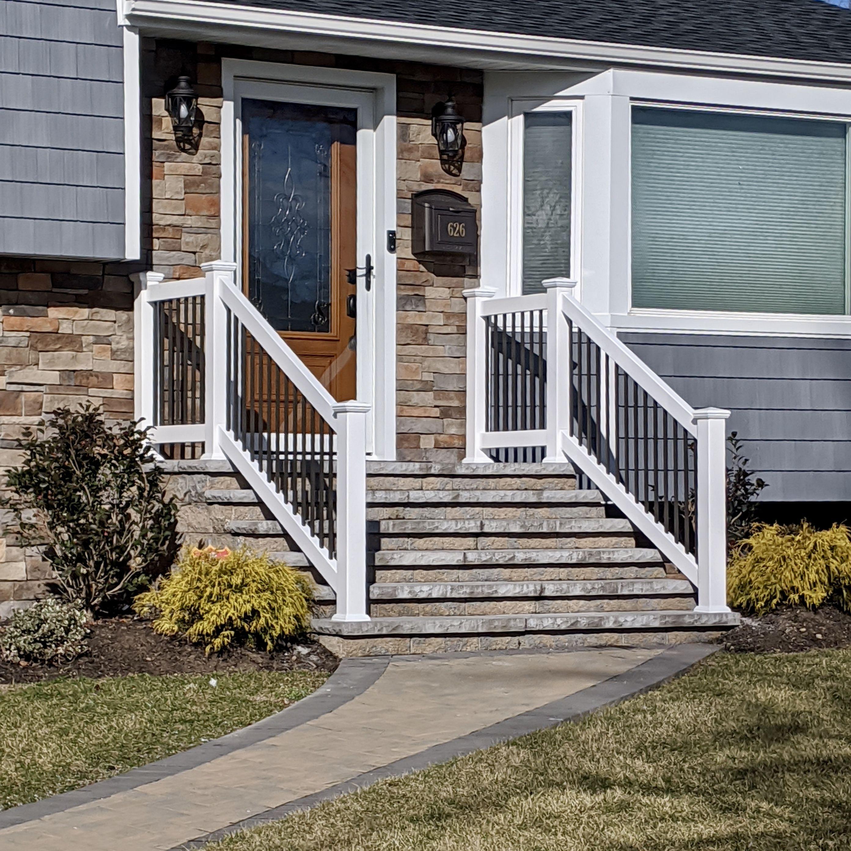3' white PVC frame and bronze aluminum picket rails for ...