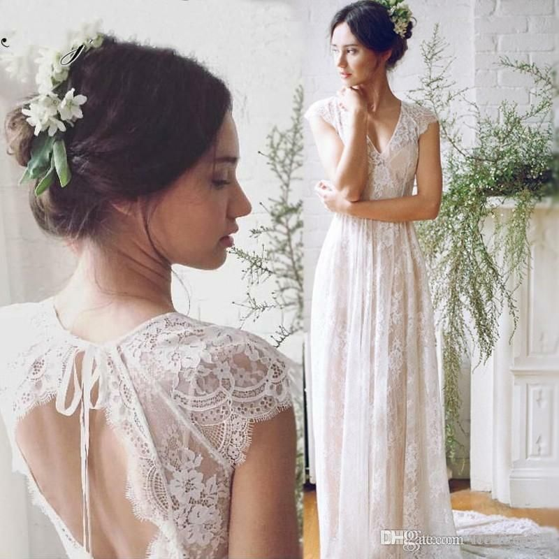 Ebay Ad Romantic Lace Wedding Dresses Bohemia V Neck Backless