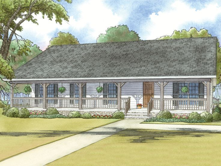 074h 0029 Country Ranch House Plan With Detached Garage Country Style House Plans Country House Plans Ranch Style House Plans