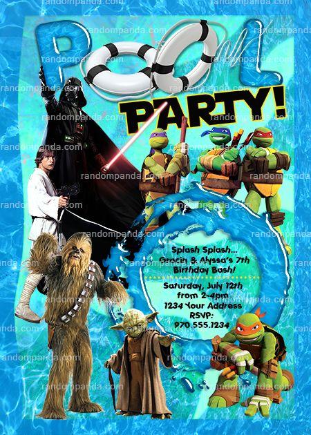 Teenage Mutant Ninja Turtles Invite Twins Pool Party Star Wars