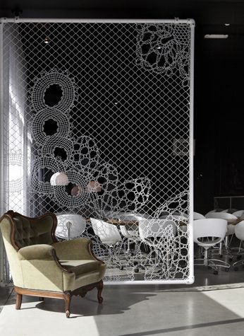 Room divider - Lace made from chain link fence section.