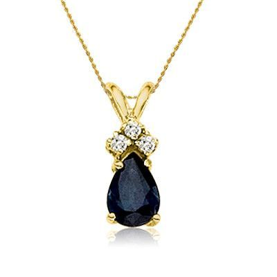 """14K Yellow Gold Pear Shaped Sapphire /& Diamond Pendant with 18/"""" Chain"""