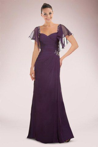 Stunning Chiffon Mother of Bride Dress Featuring Flouncing Sleeves and Beaded Motifs