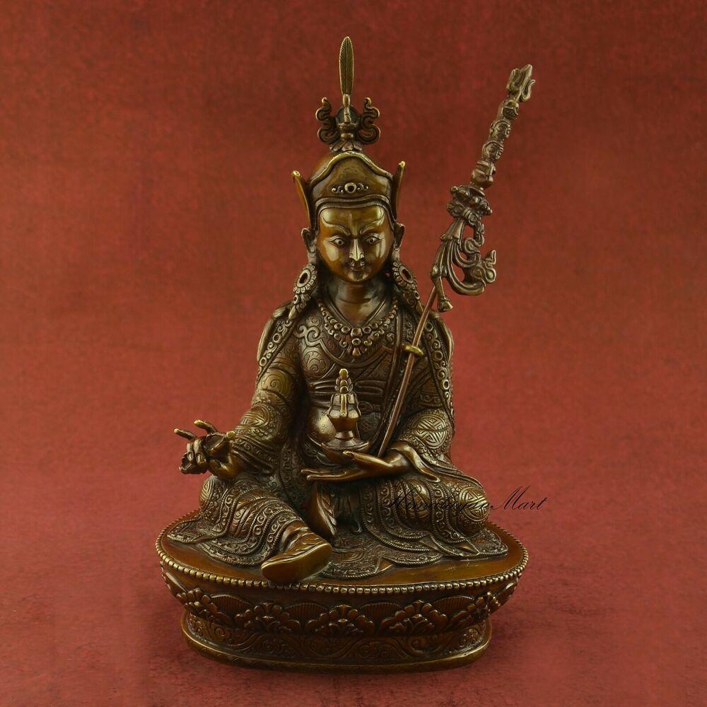Fine Quality Hand Carved Guru Rinpoche Padmasambhava Copper Statue Patan, Nepal