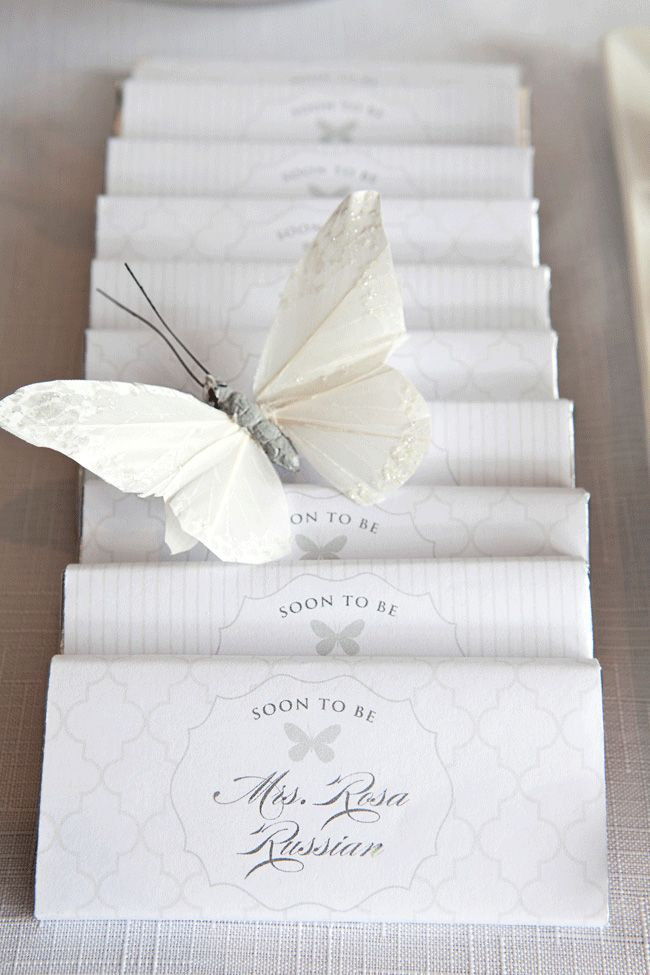 white butterfly bridal shower