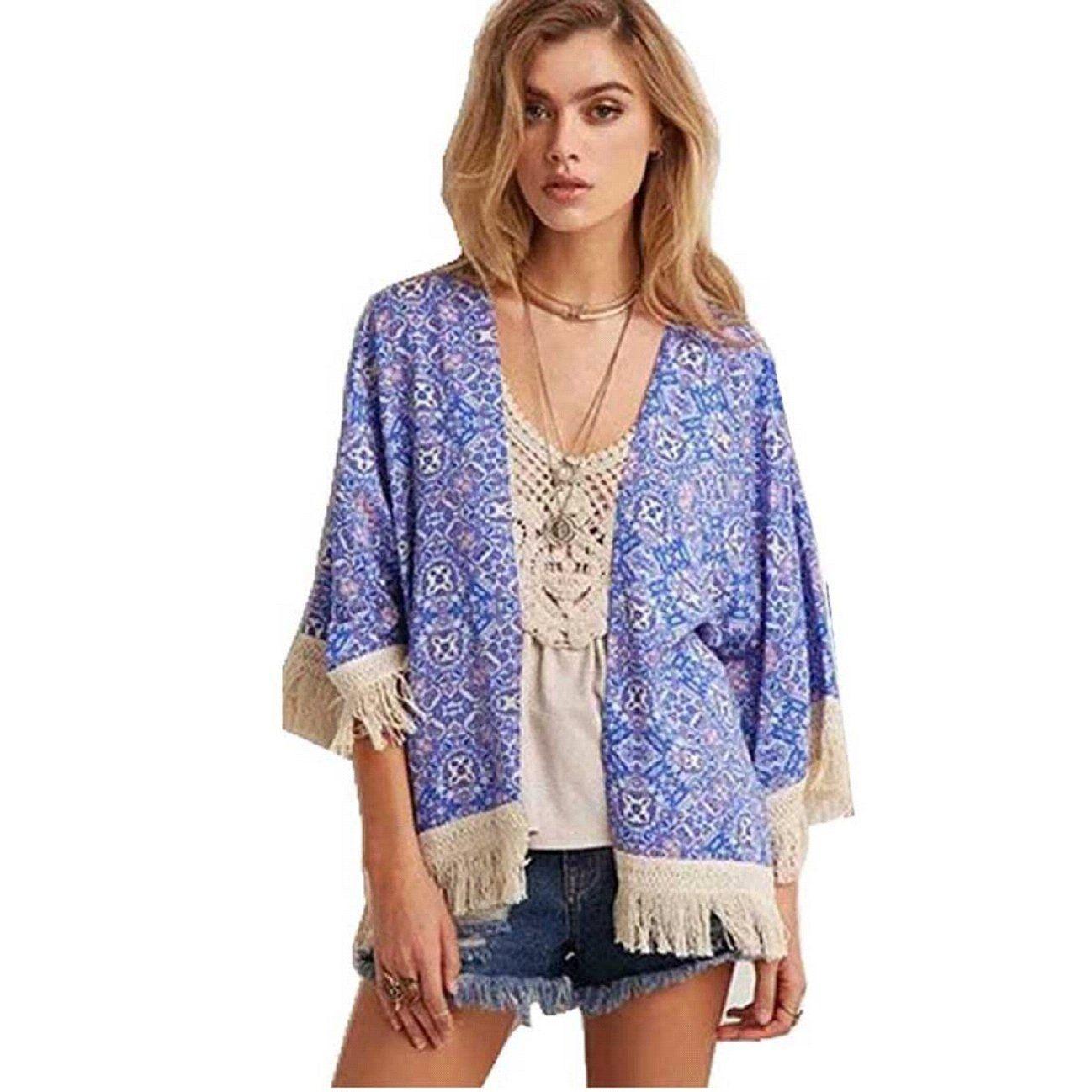 Amazon.com: Tonsee Women's Chiffon Cardigan Tassel Shawl Kimono ...