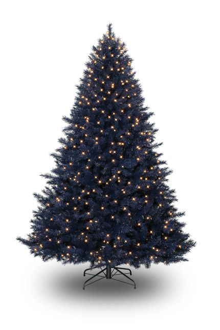 a navy blue christmas tree can you hear the angels sing
