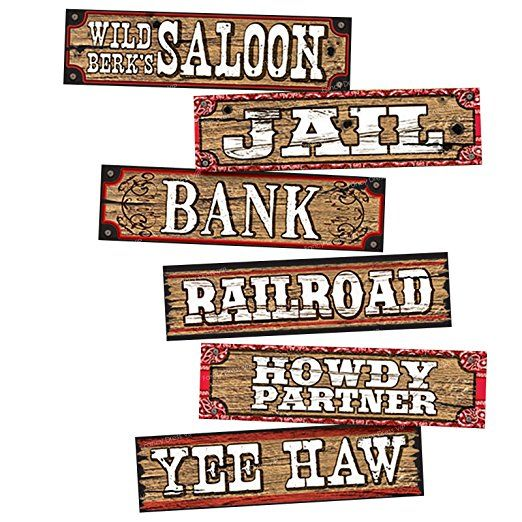 Western Decor Amazon: Cowboy Party Decoration Set Of 6 Signs Saloon Wood Planks