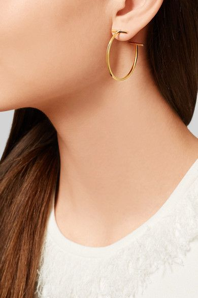 9f04014f7 Tiffany & Co. - T Wire 18-karat gold hoop earrings | Jewelz | Gold ...